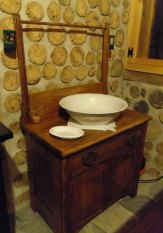 Victorian-era washstand and basin: Guests always have access washroom at the main house, but try out the olden ways!