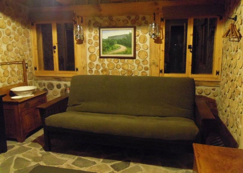 Futon with hardwood ash frame, in sofa mode.