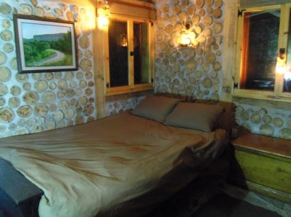 Futon, opened to double bed, has premium mattress.