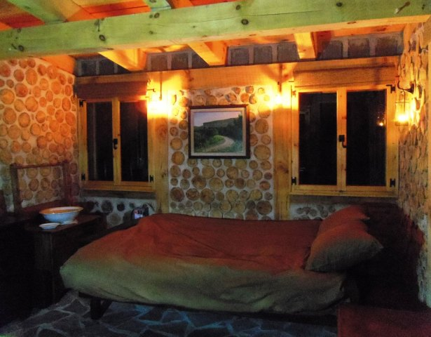 Cozy, candle lit, comfortable.