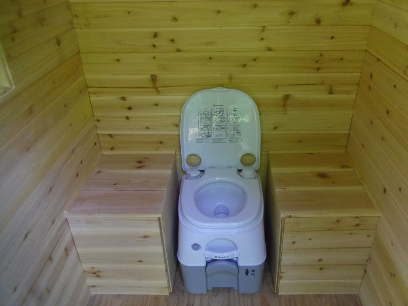 Flush-action protable toilet.
