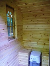 "Cedar lined privy: ""You may spend longer in there than you expect!"""